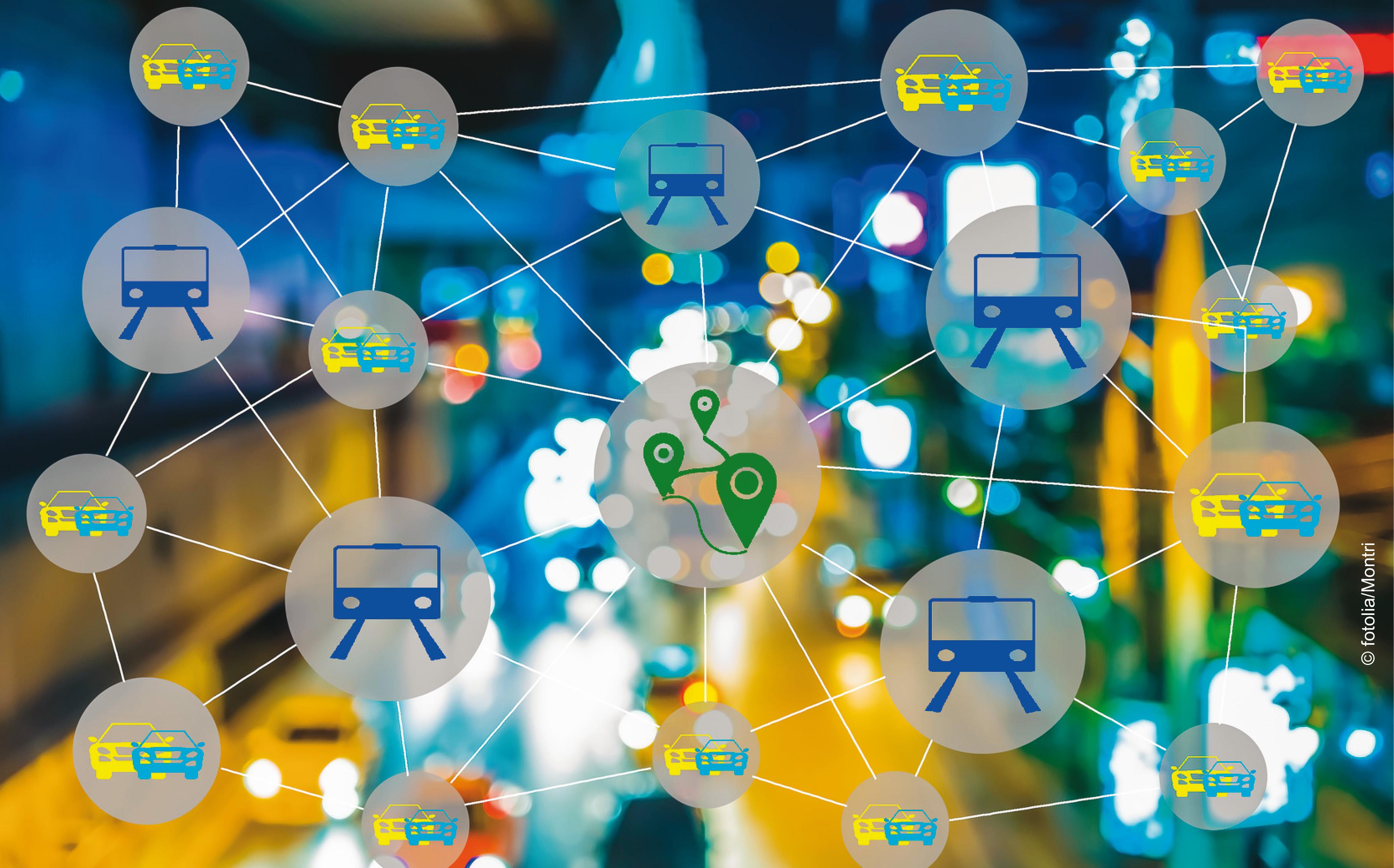 Netzgrafik für die Verzahnung von P & R im Nahverkehrsnetz